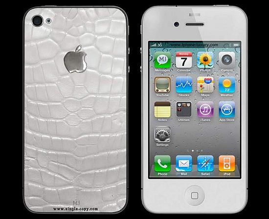 apple iphone 4 white exotic leather mj edition cro