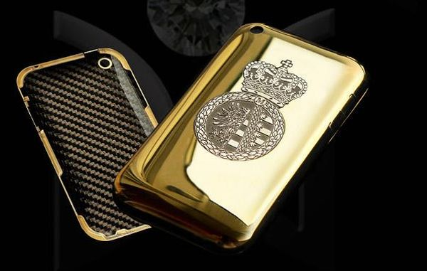 Diamond encrusted carbon fibre and gold iPhone case