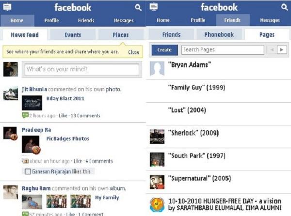 mobile Facebook site