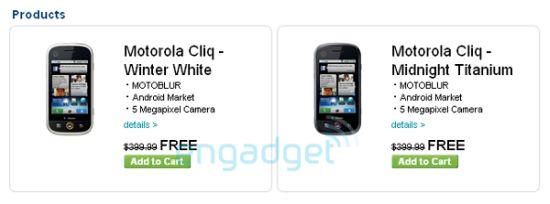 motorola cliq listed on t mobile