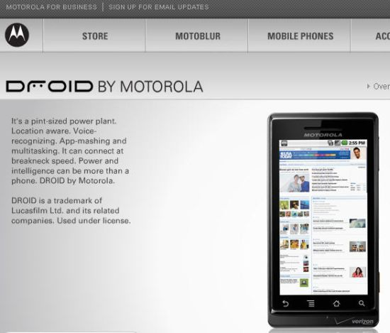 motorola droid in detail