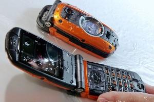 KDDI's new water resistant phone undergoes demonstration in Tokyo