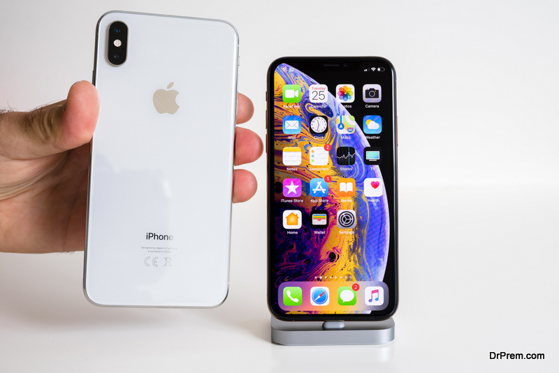 Apple iPhone Xs Max Gold Silver Smartphone logo and glass back